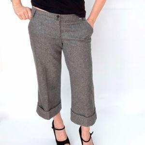 Ted Baker Gray Tweed Wool Wide Leg Cropped Culotte